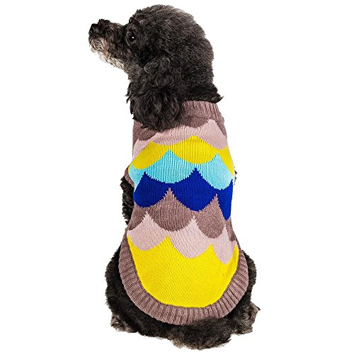 Blueberry Pet Multicolor Waves Designer Dog Sweater in Almond, Back Length 12