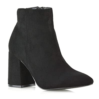 856b31da032 Womens Pointed Ankle Boots Ladies Black Faux Suede Block Mid High Heel Zip  Up Booties Shoes