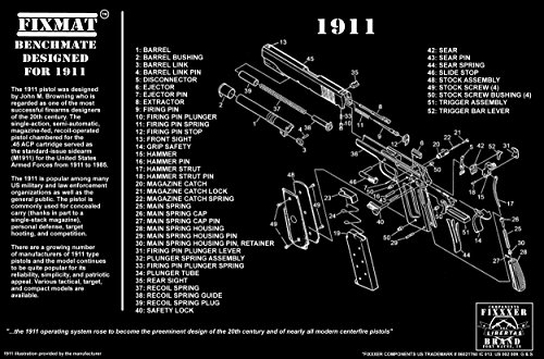 1911 diagram FIXMat BenchMate 11 X 17 Handgun Cleaning Mat featuring 1911 diagram, Black
