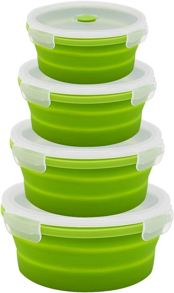 URBEST Collapsible Bowls, Silicone Food Storage Containers with Lids for Camping, Set of 4 Round Silicone Lunch Containers, Microwave and Freezer Safe (Green, 4)