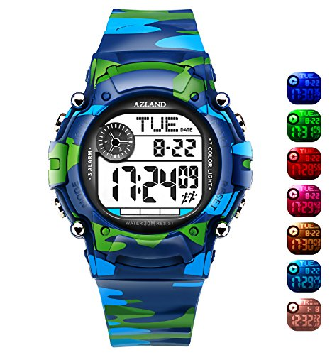 AZLAND 7 Colors Flashing, Multiple Alarms Reminder Sports Kids Wristwatch Waterproof Boys Girls Digital Watches Camo, for Age 4-12 (Audible Timer 12)