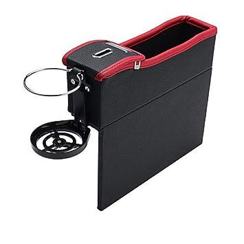 Car Seat Crevice Storage Box Cup Drink Holder Organizer Auto Gap PocketRed Black