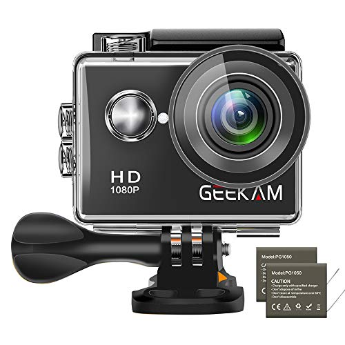 GeeKam Action Camera 1080P Waterproof Sports Camera with 2.0 inch LCD Screen and Mounting Accessories Kit(Black)