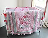 NAUGHTYBOSS Girl Baby Bedding Set Cotton 3D Embroidery Butterfly Flying Pattern Quilt Bumper Bed Skirt Mattress Cover Diaper Bag 8 Pieces Set Pink Color
