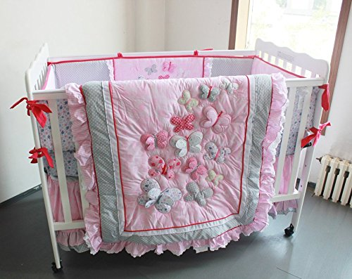 NAUGHTYBOSS Girl Baby Bedding Set Cotton 3D Embroidery Butterfly Flying Pattern Quilt Bumper Bedskirt Mattress Cover Diaper Bag 8 Pieces Set Pink by NAUGHTYBOSS