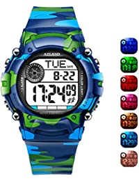 7 Colors Flashing, Multiple Alarms Reminder Sports Kids Wristwatch Waterproof Boys Girls Digital Watches Camo, for Age 4-12