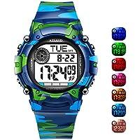 Azland 7colores Flashing, 3alarmas de múltiples Recordatorio Deportes Kids Reloj de pulsera impermeable niños niñas de los relojes digitales camo, Medio, Camuflaje