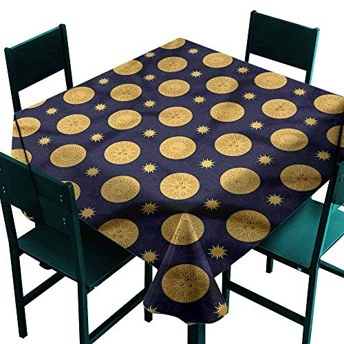 - DONEECKL Dust-Proof Tablecloth Sun and Moon Tribal Style Stars and Durable W54 xL54