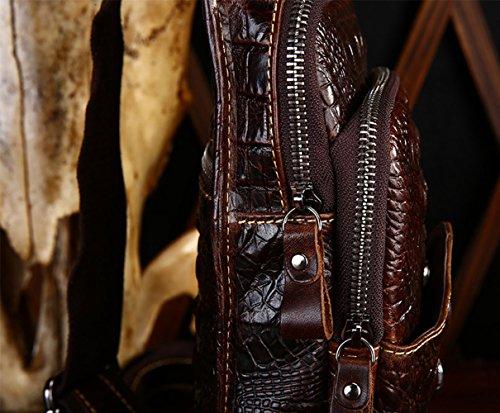 insum Hombre Piel Vintage Sling Pecho Bolsa Marrón - Coffee Crocodile Pattern