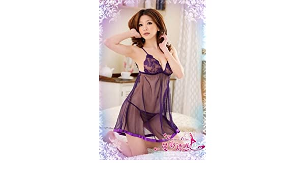 f5902c518eb Amazon.com  IPINK Sexy Purple Soft Sheer Lace Lingerie Babydoll Dress and Matching  Thong - A013  Clothing