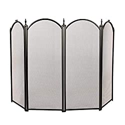 1.Go Fireplace Screen 4 Panel Ornate Wrought Iron Black Metal Fire Place Standing Gate from 1.GO