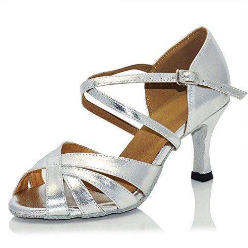 WYMNAME da Scarpe Moderna da da Scarpe da Medio Scarpe Quadrato Danza Silver Ballo Latino Ballo Sandalo Ballo Heels Scarpe Womens rSfnxqr
