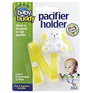 Baby Buddy Bear Pacifier Holder, Yellow