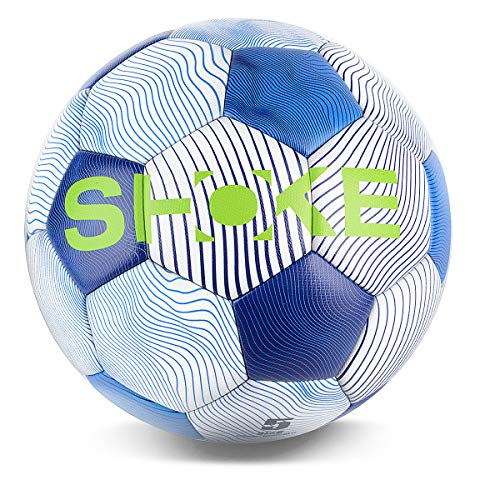 SHOKE Soccer Ball Size 5 FIFA Level Performance Ball, Thermal-Bonding Hold Air Water-Resistant, Rebound Height 51.18'' -53.15'', Can Customized ()