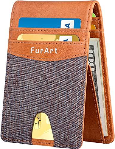 Slim Minimalist Bifold Wallet, RFID Blocking, FurArt Front Pocket Leather Wallets, Credit Card Holder for Men Women