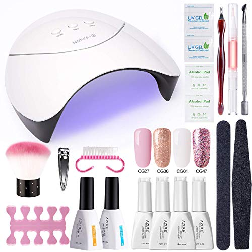 AZUREBEAUTY Gel Nail Polish Starter Kit with 24W UV/LED Lamp (3 Timer Setting),Base and Top Coat, Manicure Tools + Pink Glitter 4 Colors Gel Polish(12ml)