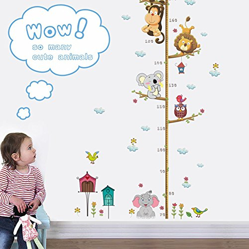 Woodland Arts 22 inches x 43 inches Monkey Lion Elephant Birds Koala Animals Measurement Growth Chart Removable Vinyl Wall Decals Stickers for Children Room Nursery