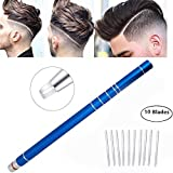 Hair Styling Tools Hair Cutting Stick for Hair Design/Hair Tattoo with 10 Accessories Blades and 1 Tweezers (blue 02)