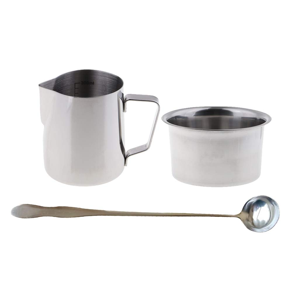 3 Pieces//Set Candle Making Pitcher 300ml Double Boiler Pot Wax Mixing Spoon
