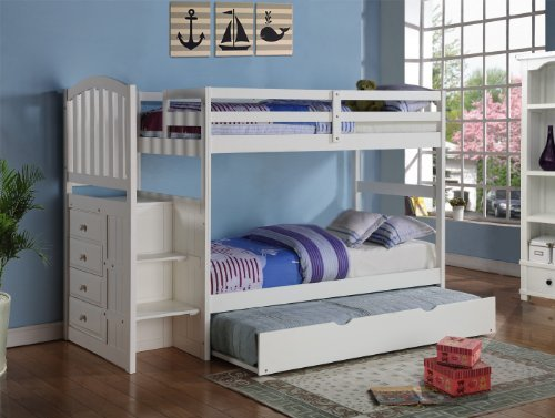 Donco Kids Arch Mission Stairway Bunk Bed Trundle in White