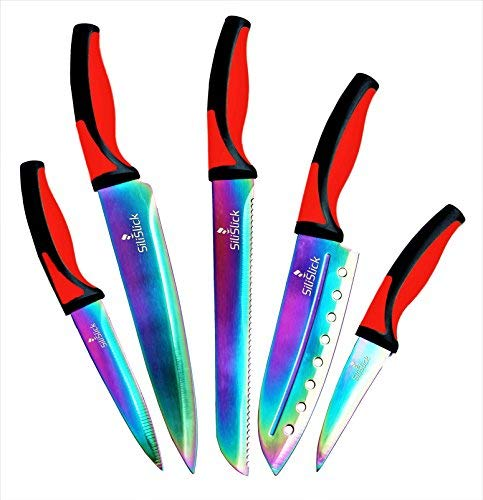 Kitchen Knife Set - 5 Elegant Knives, Chef Quality, SS Blades With Ergonomic Handles, Rainbow Effect, Titanium Coating & Safety Sheath. By SiliSlick
