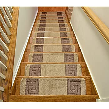 Millenium Stair Tread Treads Greek Key Design Indoor Skid Slip Resistant Carpet  Stair Tread Treads Greek Key Design Machine Washable 8 ½ Inch X 30 Inch  (Set ...