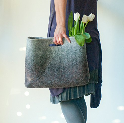 SMALLER Grey Sturdy Everyday Art Bag / Carryall / Tote / Basket / Shopping / Market / Picnic / Hand felted wool / Wearable - Nat Shopping