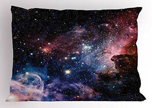 Lunarable Outer Space Pillow Sham, Stars Nebula Colorful Pattern in Space Galaxy Astronomic Picture Print, Decorative Standard Size Printed Pillowcase, 26