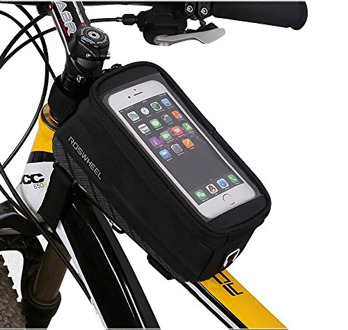 BicycleStore Bicycle Smart Phone Bag Outdoor Cycling Mountain Road MTB Bike Frame Front Tube Bag for Cellp Phone PVC (New Black, 5.7
