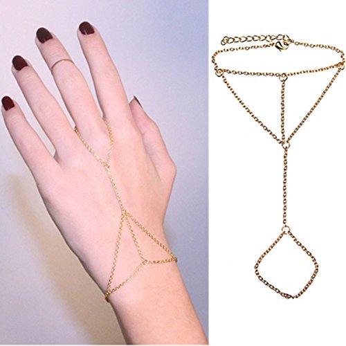 Gold Damen Frauen Armband Chain Link Interweave Fingerring Hand Handschmuck Armkette Kette Hochzeit