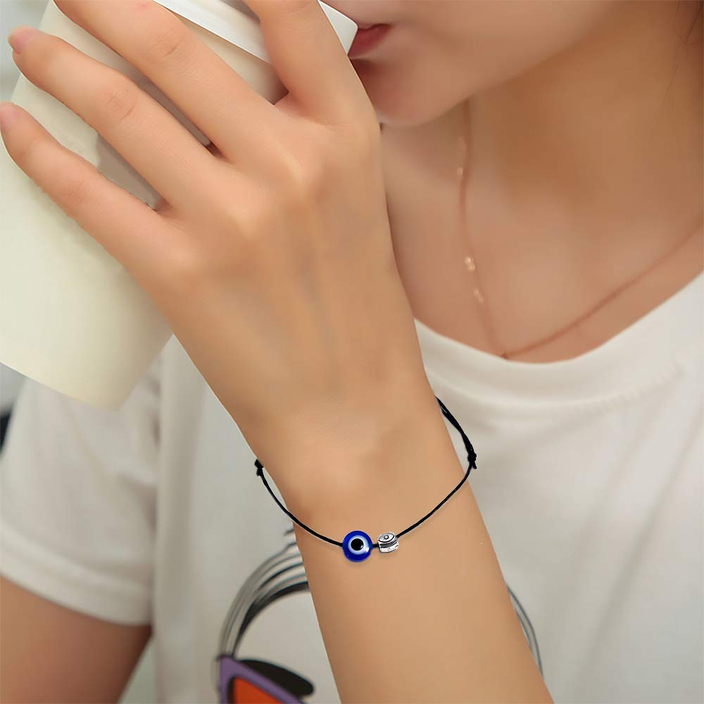 VEVICE 2 Pcs Braided Bracelet Evil Eye Anklet Adjustable Sliding Knots for Men and Women Black
