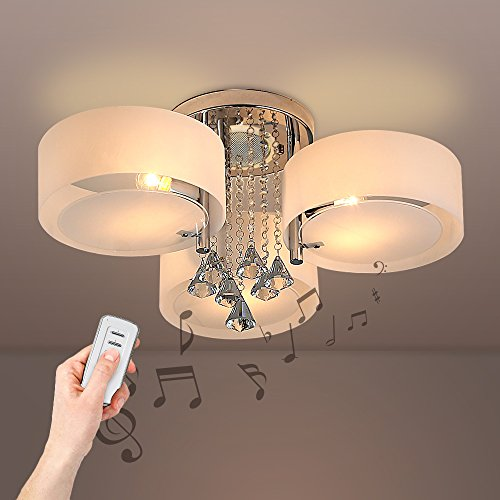 Crystal Ceiling Lights with Remote Control and bluetooth loudspeaker 3 Lights(BULBS NOT INCLUDED) by LUMINUX