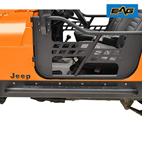 - EAG Off Road Steel Rocker Guard with Step Fit for 76-86 Jeep Wrangler CJ7 Running Boards