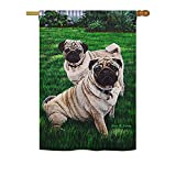 Cheap Breeze Decor PT-H-110006-IP Pugs Love Everyday Pets Impressions Decorative Vertical House Flag, 28″x 40″, Multicolor