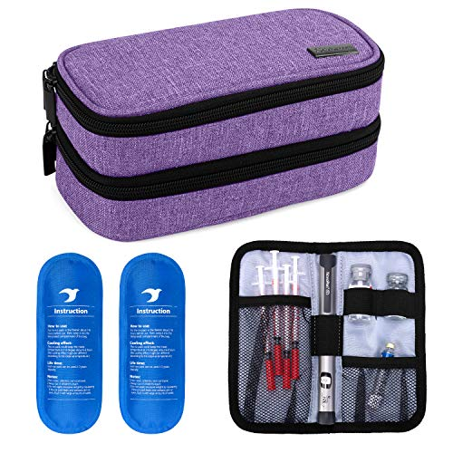 Yarwo Insulin Cooler Travel Case, Double-Layer Diabetic Travel Case with 2 Ice Packs, Diabetic Supplies Organizer for…