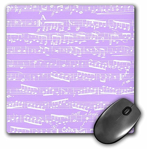 Price comparison product image 3dRose LLC 8 x 8 x 0.25 Inches Lilac Purple Musical Notes Piano Notation Modern Girly Musician Girls Gifts Mouse Pad (mp_151356_1)