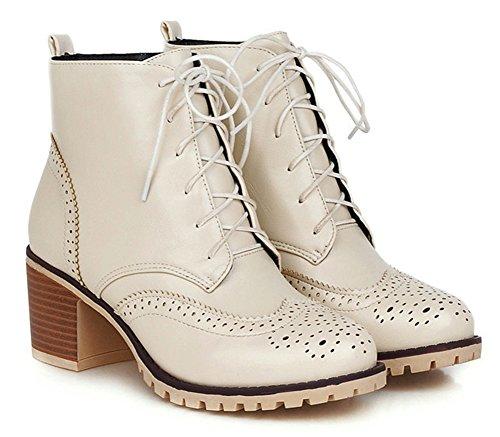 Aisun Womens Vintage Antiskid Round Toe Dress Lace Up Martin Boots Block Mid Heel Booties Shoes Beige xcIejhy