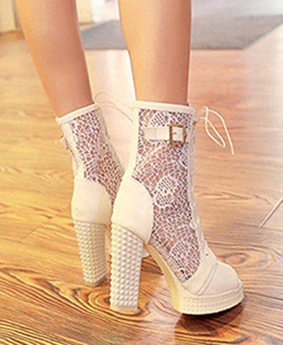 Aisun Womens Cool Sexy Peep Toe Platform Lace Up Mesh Scava Fuori Sandali Scarpe Tacchi Alti Bianco