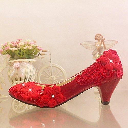 Rouge UK6 JINGXINSTORE Fleur dentelle rouge chaussures de mariage haut de diahommets robes de demoiselle avec Perforhommece Chaussures Les Les dames