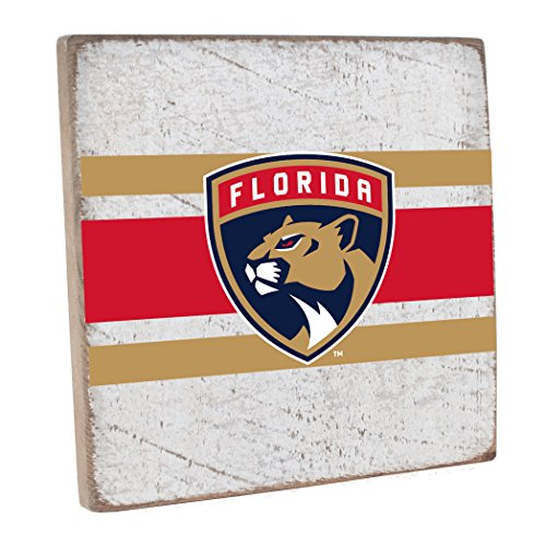"Rustic Marlin Designs NHL Florida Panthers,White, Vintage Square, 12"" H X 12"" W"