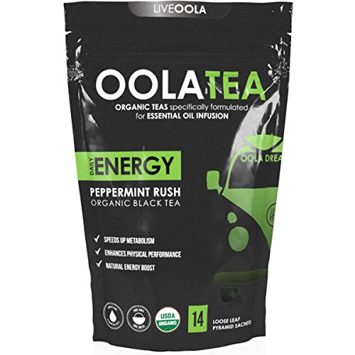 Oola Tea - ENERGY (Peppermint Rush) 14 Count | Certified Organic Black Tea | Boosts Energy | Speeds Metabolism
