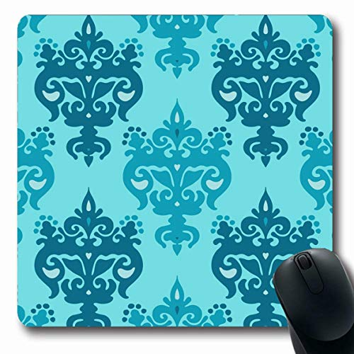 Ahawoso Mousepads for Computers Ornate Blue Modern Heraldry Pattern Vintage Ornamental Abstract Baroque Classic Color Damascus Design Oblong Shape 7.9 x 9.5 Inches Non-Slip Oblong Gaming Mouse Pad