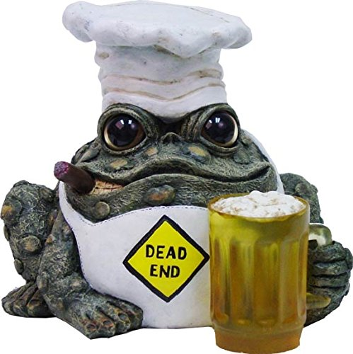 (Homestyles Toad Hollow #94135 Figurine Dead End Grillin Toad with Mug of Beer in a Chef Hat and Cooks Apron Grill Character Garden Statue Large 8.5