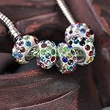 1-20 White Colorful 12x17mm 10pcs Big Hole Crystal Rhinestones Clay Loose Spacer Beads European Bracelet