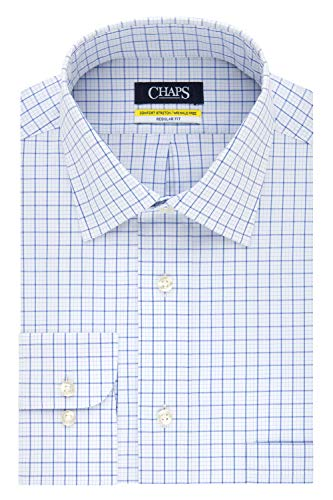 Chaps Men's Dress Shirt Regular Fit Stretch Collar Check, French Blue, 15.5