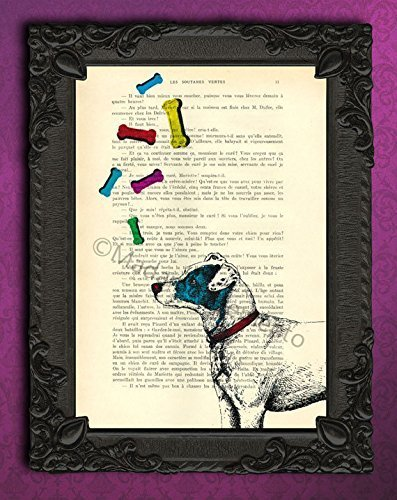 (Jack Russell Terrier gifts dictionary art print - colorful dog bones wall decor poster)