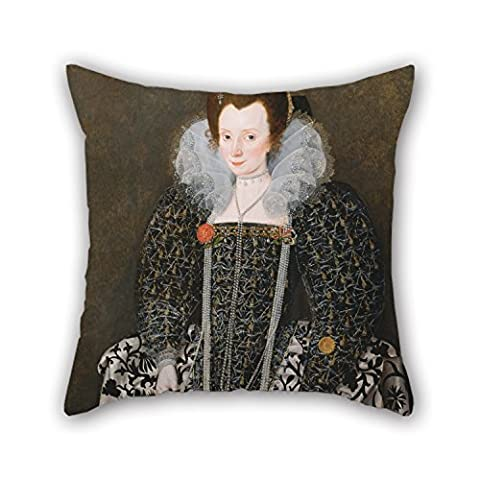 18 X 18 Inches / 45 By 45 Cm Oil Painting Robert Peake The Elder - Portrait Of A Woman, Traditionally Identified As Mary Clopton (born Waldegrave), Of Kentwell Hall, S Throw Pillow Case ,twin Sides (Butterfly Pond Kit)