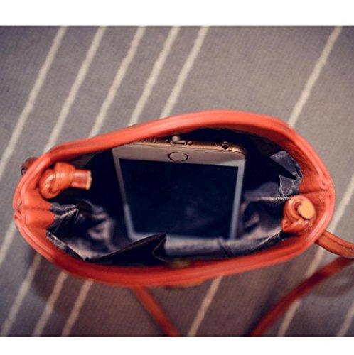 bolso mujer bandolera deporte, Sannysis Bolsa de cuero bolso, 11x20x6 cm (B x H x T) (Negro) Naranja