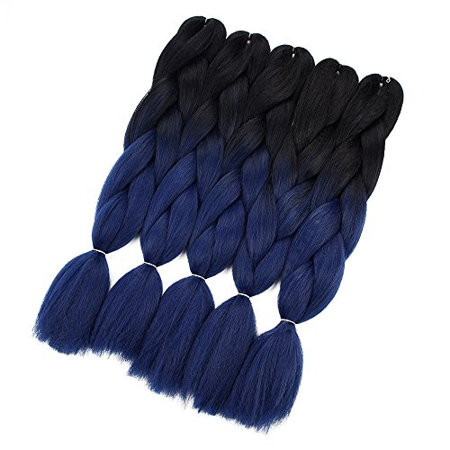 Crochet Braids Ombre Jumbo Braiding Hair Extensions Synthetic Yaki Straight 5 Pieces 2 Tone (Black Blue ink)