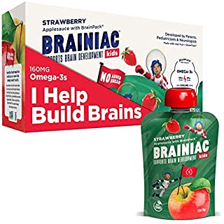 Brainiac Kids Omega-3 Applesauce Pouches, Apple Strawberry, 3.2 Oz (10 Pack) - Supercharge Kids Developing Brains with Omega-3s & Choline - Pediatrician Approved - No Added Sugar or Artificial Flavors